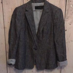 Zara basic denim blazer medium blue lined chambray